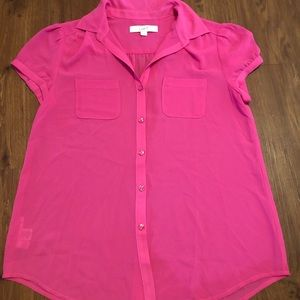 LOFT Pink Sheer Blouse Size Small